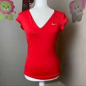 NIKE RED V NECK ACTIVE TEE